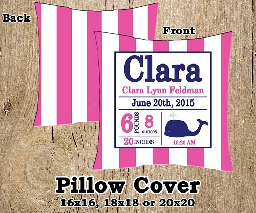 Pink & Navy Preppy Whale Birth Announcement Pillow
