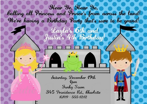 Prince and Princess Birthday Party Invitations - Printable or Printed