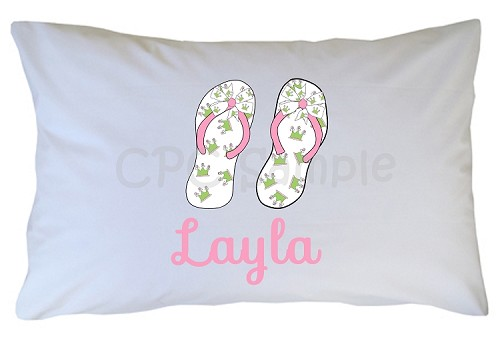 Personalized Flip Flops Pillow Case for Kids, Adults and Toddler