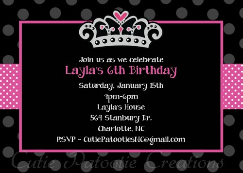 Princess Crown Party Invitations - Printable or Printed