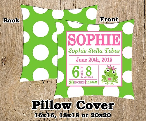 Pink & Green Frog Birth Announcement Pillow Cover