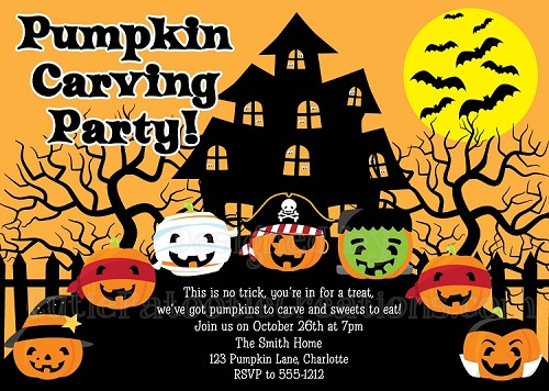 Pumpkin Carving Party Invitations | Halloween Party Invitations - Printable or Printed