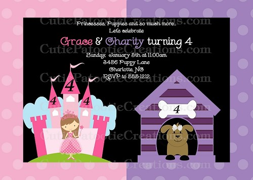 Puppy and Princess Birthday Invitations - Printable or Printed