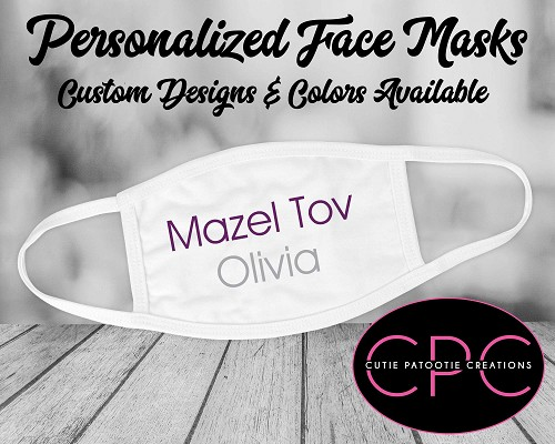 Mazel Tov Face Mask for Bar and Bat Mitzvahs - Choose Your Colors
