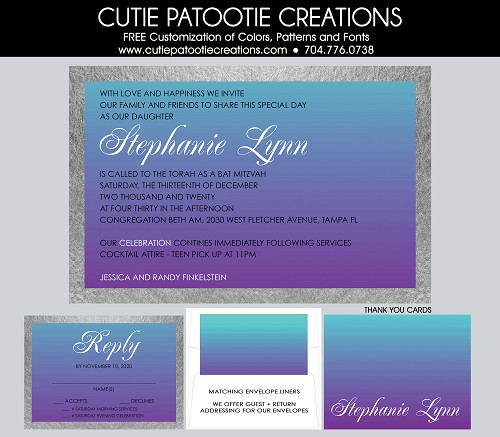 Purple and Teal Blue Ombre Bat Mitzvah Invitations
