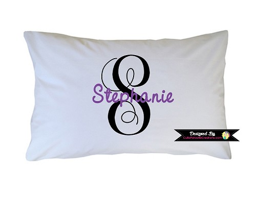 Personalized Purple and Black Monogram Pillow Case for Kids, Adults and Toddler