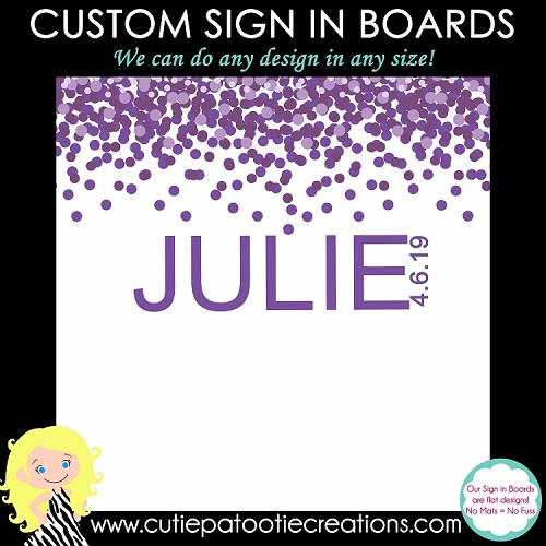 Purple Confetti Bat Mitzvah Sign in Board or Sign in Pillow - Custom Colors Available