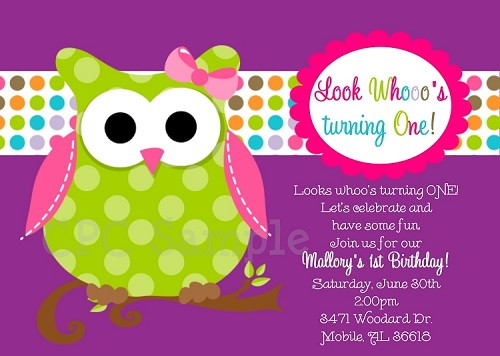 Owl 1st Birthday Invitation In Pink Green And Purple