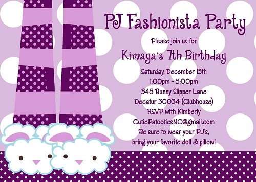Pajama Birthday Party Invitations | Bunny Slippers Sleepover Invitations - Printable or Printed