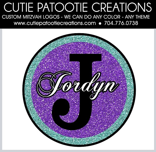 Glitter Monogram Name and Initial Bat Mitzvah Logo - Custom Colors Available