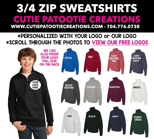 Quarter Zip Sweatshirt Mitzvah Party Favors - READ DESCRIPTION FOR INFO - CALL FOR PRICING