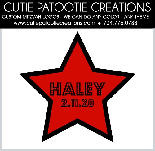 Hollywood Star Mitzvah Logo - Red and Black - Custom Colors Available