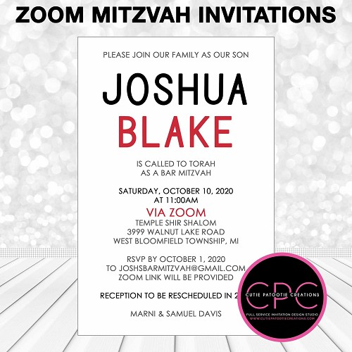 Zoom Mitzvah Invitations, Red, Black and White Bar Mitzvah Invitation