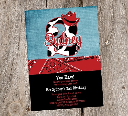 Western Birthday Invitations