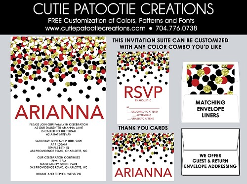 Black, Red and Gold Confetti Bat Mitzvah Invitations - Custom Colors Available