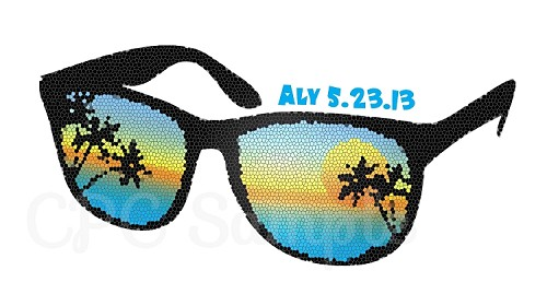 Beach Theme Bar Mitzvah Logo - Sunglasses - Palm Tree