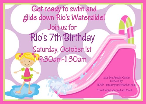 Pool Party Water Slide Birthday Invitation - Pink and Purple