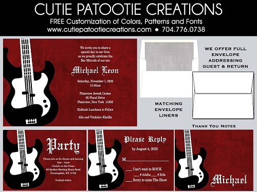 Bass Guitar Bar Mitzvah Invitation Black White Red Grunge, Custom Colors Available