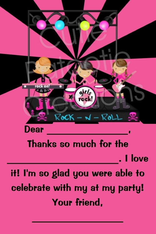 Rockstar Thank You Cards - Printable Digital
