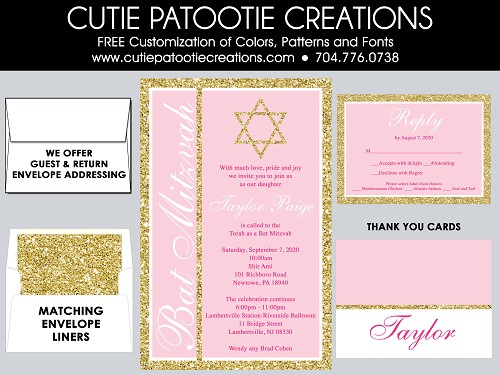 Rose Pink and Gold FAUX Glitter Bat Mitzvah Invitations | Custom Colors Available