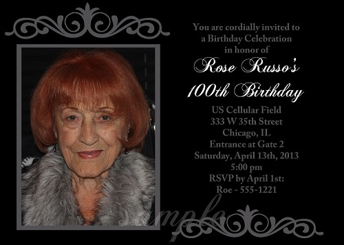 100th Birthday Birthday Party Invitations - Printable or Printed