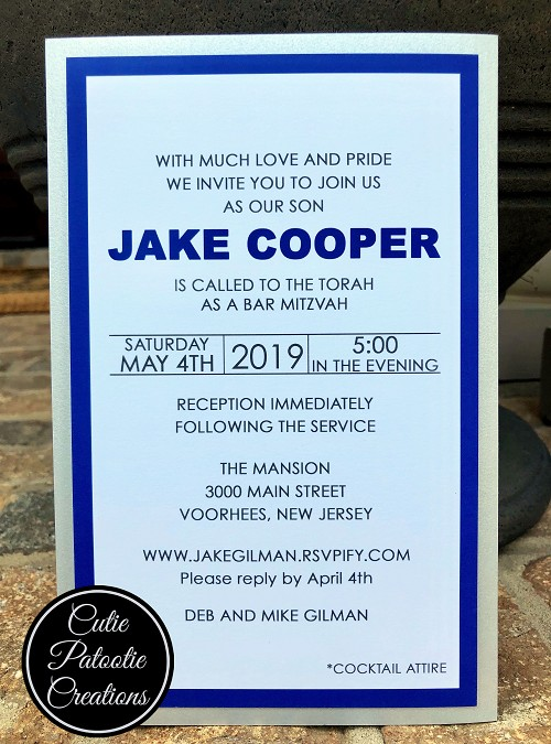 Navy Blue and Silver Metallic Bar Mitzvah Invitation | Custom Colors Available
