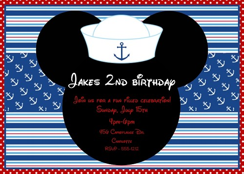 July 4th Mouse Ears Birthday Invitations, Printable or Printed