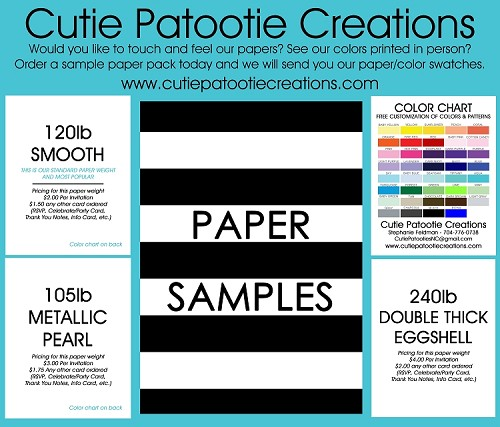 Sample Paper Pack  - Includes our Papers, Color Chart and Envelopes - PLEASE READ DESCRIPTION BELOW