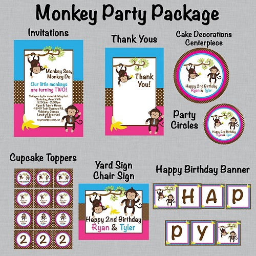 Boy Girl Monkey Printable Party Package - Birthday Invitations - Birthday Decorations - Party Supplies