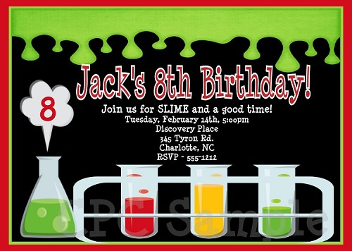 Science Mad Scientist Birthday Party Invitations