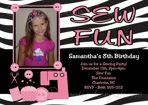 Sewing Party Birthday Invitations