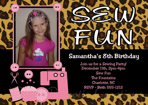 Sewing Machine Birthday Party Invitations