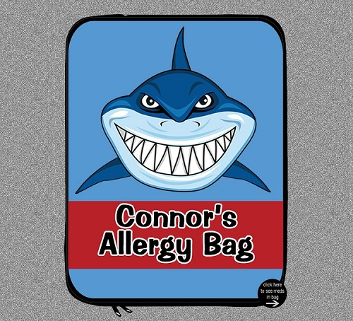 Personalized Shark Jaws Allergy Medicine Bag - EpiPen, Auvi-Q