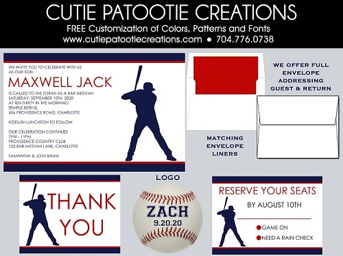 Baseball Silhouette Bar Mitzvah Invitations - Custom Colors Available