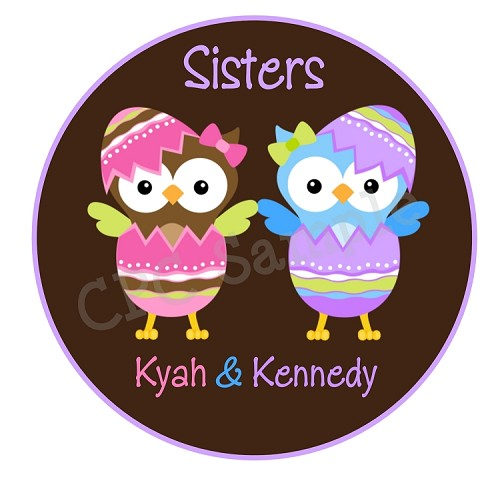 Twins Easter Owl TShirt Personalized