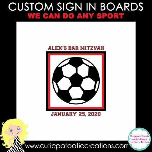Soccer Bar Mitzvah Sign in Board | Sign in Pillow