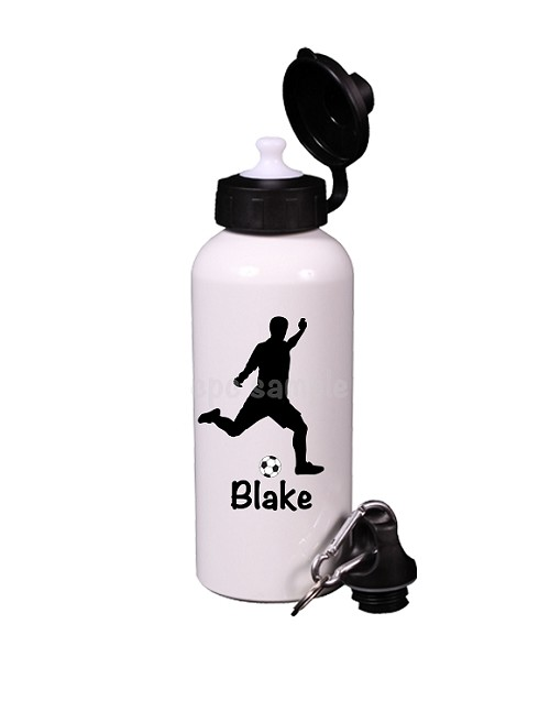 Personalized Silhouette Soccer Player Water Bottle