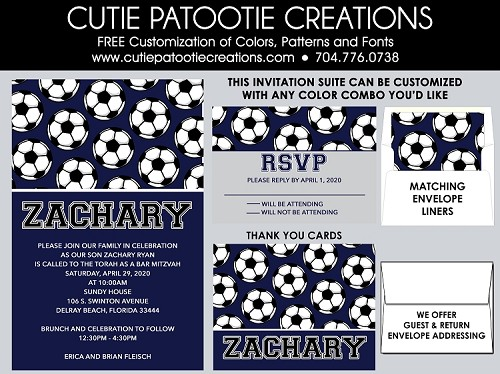 Soccer Theme Bar Mitzvah Invitations - Custom Colors Available