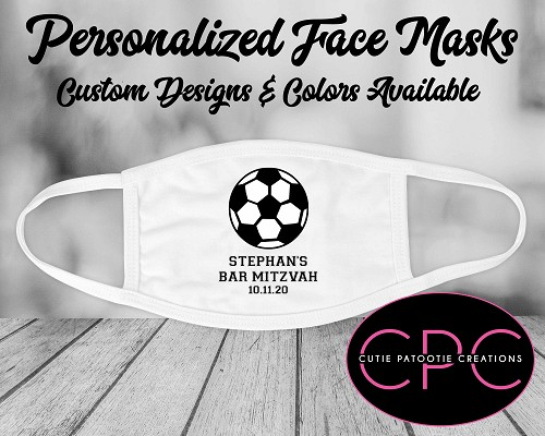 Soccer Ball Personalized Face Mask for Bar and Bat Mitzvahs