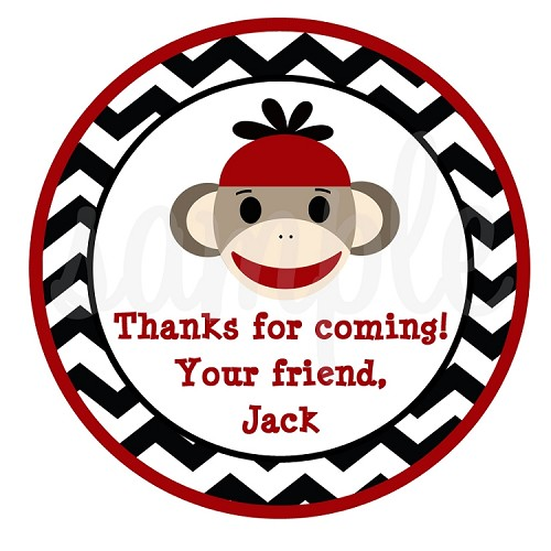 Personalized Sock Monkey Gift Stickers, Labels, Tags