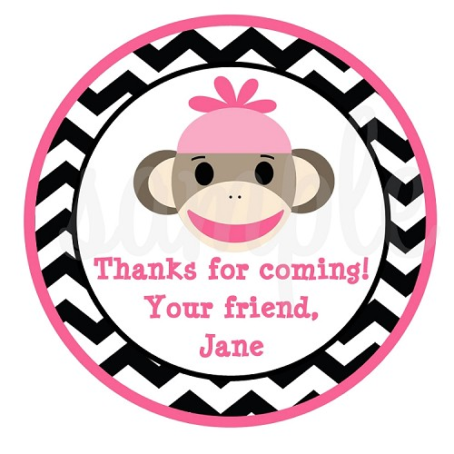 Personalized Pink Sock Monkey Gift Stickers