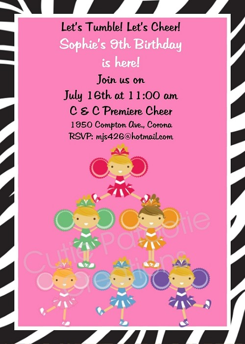 Cheerleading Cheerleader Birthday Invitations