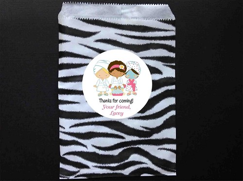 Spa Party Favor Bags and Personalized Stickers