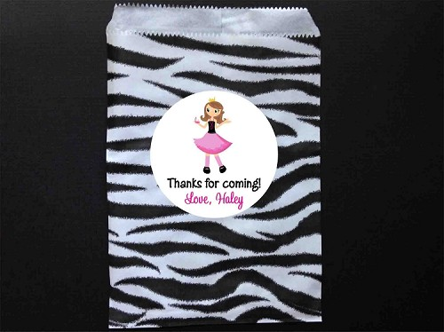 Glamaour Girl Party Favor Bags and Personalized Stickers