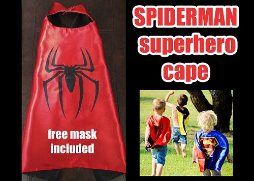 Spiderman Superhero Cape Costume and Mask