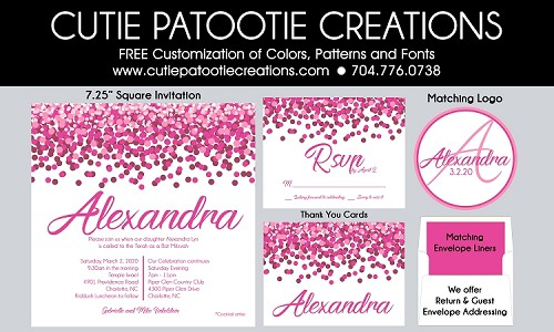 Square Pink Confetti Bat Mitzvah Invitations - Custom Colors Available
