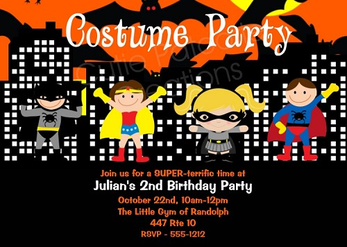 Superhero Costume Birthday Invitations | Halloween Party Invitations - Printable or Printed