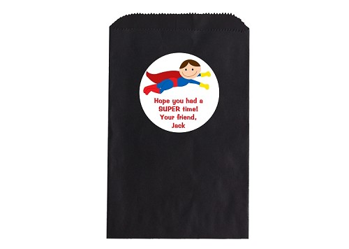 Superhero Party Favor Bags and Personalized Stickers