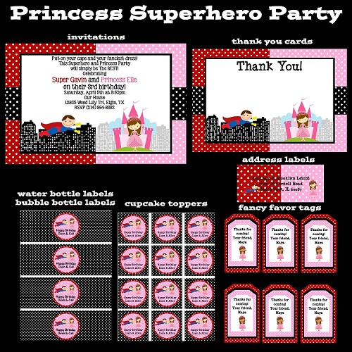 Superhero Princess Printable Party Package - Invitations - Party Decorations - Party Supplies