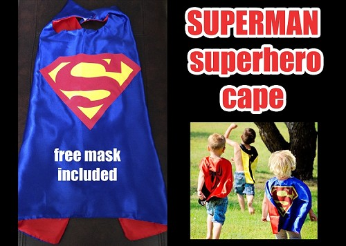Superman Superhero Cape Costume and Mask